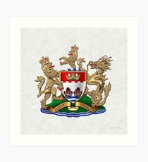 Hong Kong - 1959-1997 Coat of Arms over White Leather  Art Print