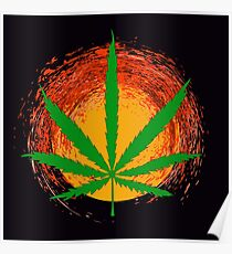 Marijuana Leaf and the Sun Poster