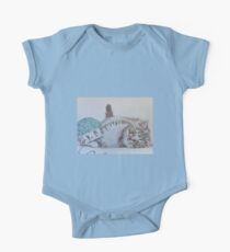 Cute Tabby Cat Playing Softly With Wool Pencil Drawing One Piece - Short Sleeve