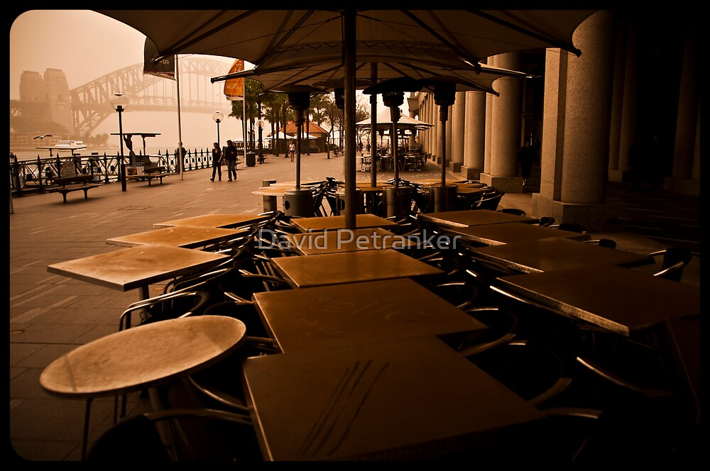 Sydney Dust storm - Dusty tables by the harbour by David Petranker