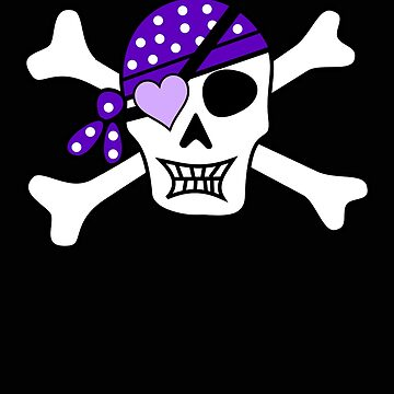 Pirate Girl Skull Purple Bow by stacyanne324