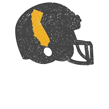 State Shape of California on Vintage Football Helmet by ZippyThread