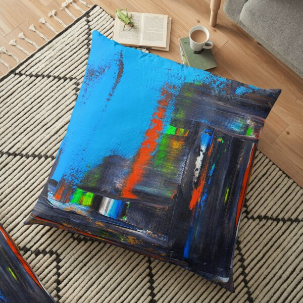 Rushed City Scape Floor Pillow