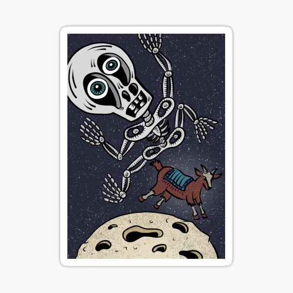 Skully over the Moon Sticker