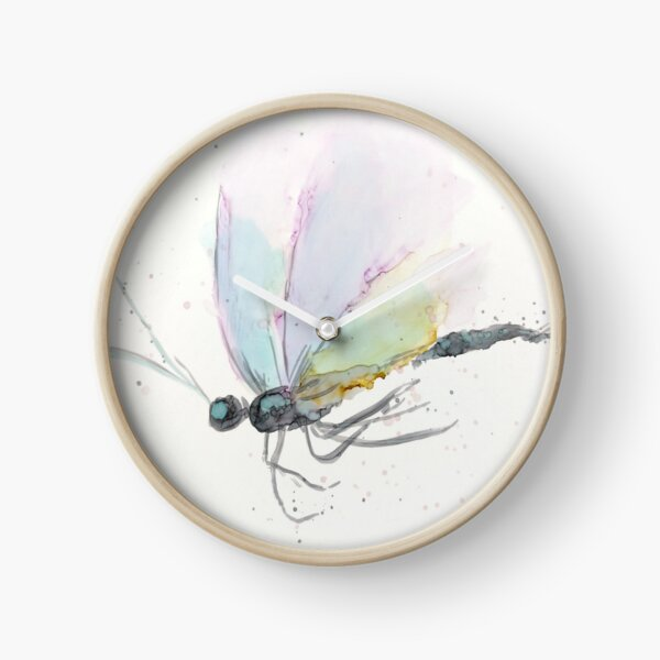 Dragonfly Soft Purple & Green Clock