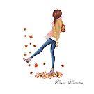 girl autumn leaves by reyniramirezfi