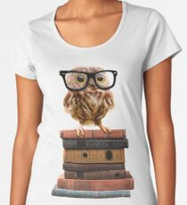 Adorable Nerdy Owl with Glasses on Books Women's Premium T-Shirt