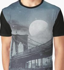 Full Moon Grey Night  Brooklyn Bridge Graphic T-Shirt