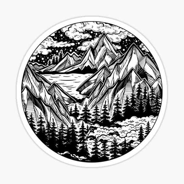 Vintage outdoors nature. Sticker