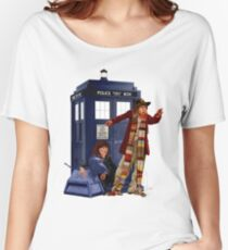 4th Doctor, Sarah Jane, K-9 and the TARDIS Women's Relaxed Fit T-Shirt