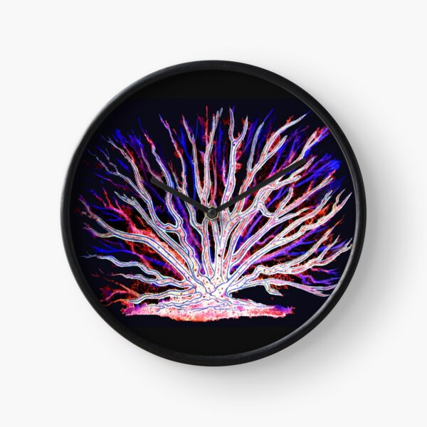 Neon Sea Coral Clock