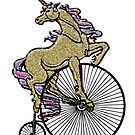 Golden Sparkly Unicorn on Penny Farthing Velocipede by SirLeeTees