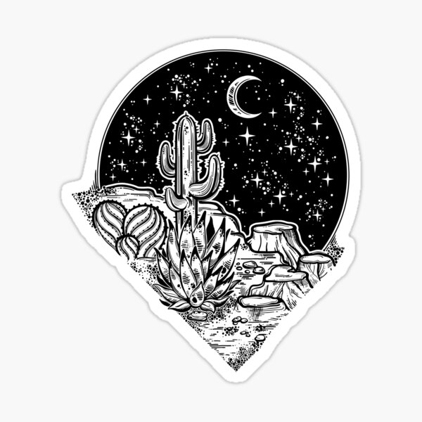 Decorative antique hourglass with mountains, stars and moon illustration. Sticker