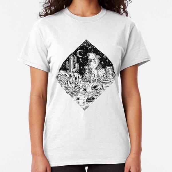 Night desert of America with cacti and animal skull. Classic T-Shirt