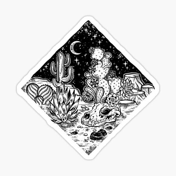 Night desert of America with cacti and animal skull. Sticker