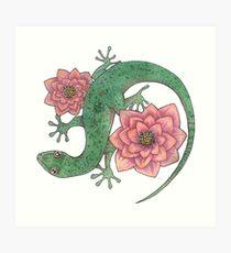Lámina artística Desert Gecko, Desert Blooms