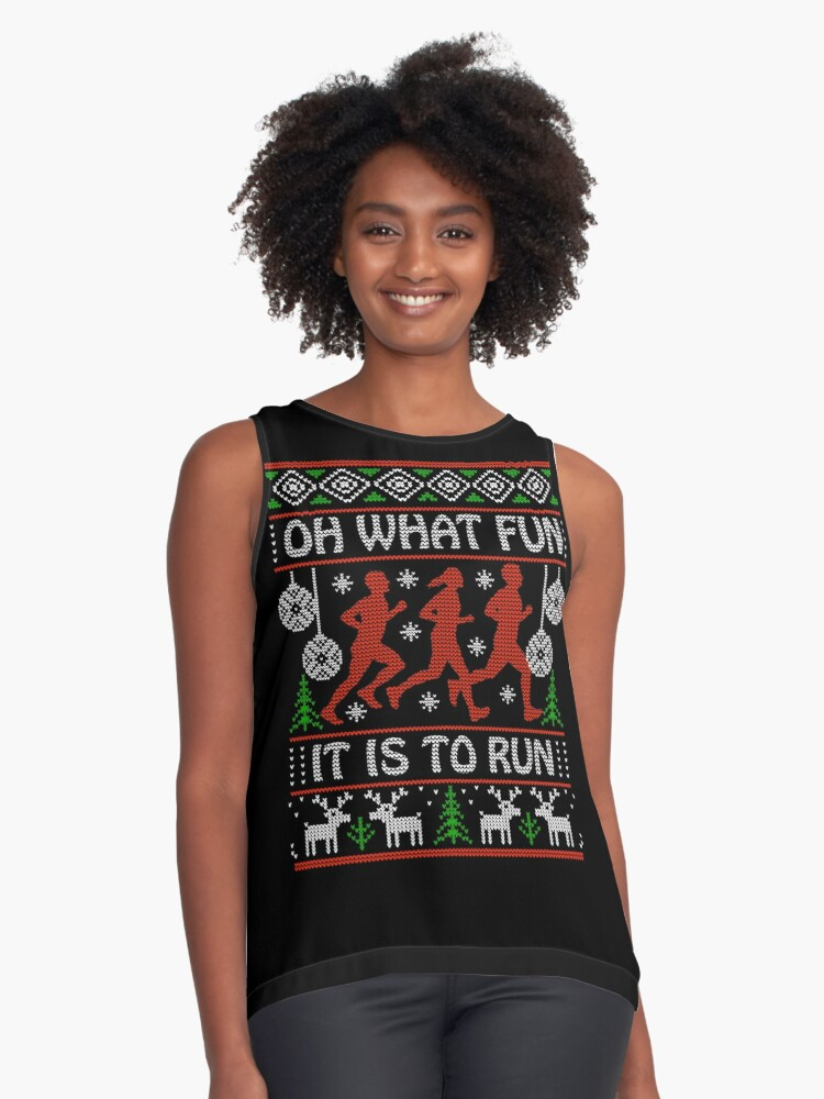 Christmas Running Top.Christmas Gift Idea For Runners Oh What Fun It Is To Run Sleeveless Top By Festivalshirt