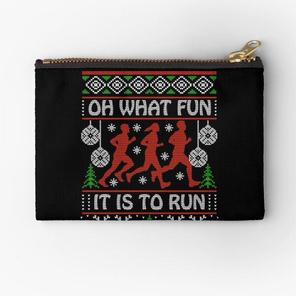 Christmas Gift Idea for Runners Oh What Fun It Is To Run Zipper Pouch