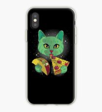Galaxy Cat Eating Taco And Pizza T-Shirt Funny Cute Kitty iPhone Case