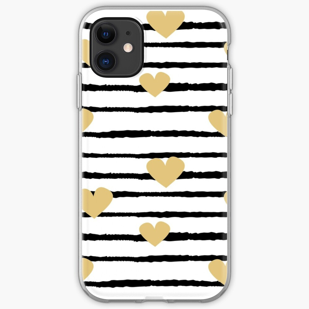 Pattern Background With Hand Drawn Gold Hearts On Black And White Stripes Iphone Case Cover By Alicev78 Redbubble