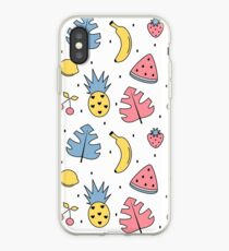 cute colorful summer pattern background with exotic leaves, bananas, pineapples, lemons, watermelon, cherries and strawberries iPhone Case