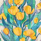 «Blooming Golden Tulips en Gouache» de micklyn