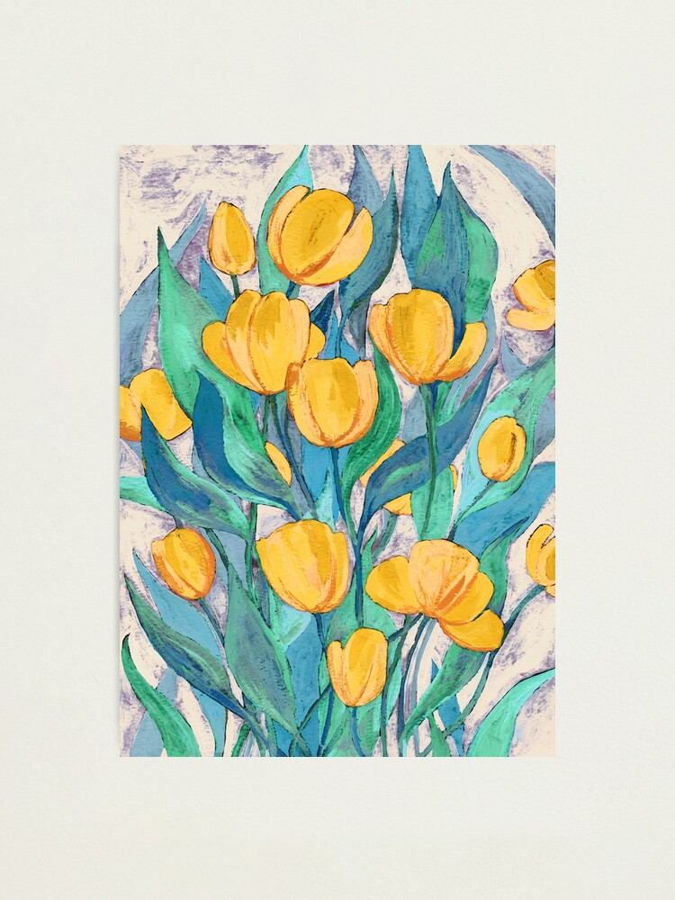 Alternate view of Blooming Golden Tulips in Gouache  Photographic Print