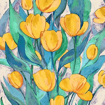 Blooming Golden Tulips in Gouache  by micklyn
