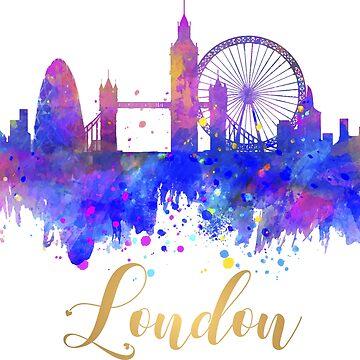 London Skyline UK Cityscape Watercolor by tanabe