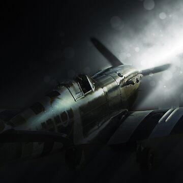Spitfire AB910 Shadows by aviationart