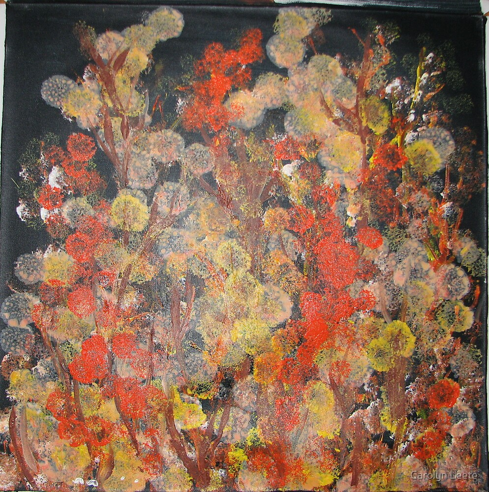 Orange Flower Patch at Midnight by Carolyn Leete