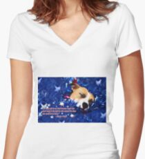 Cradled by a Blanket of Stars and Stripes - Quote Women's Fitted V-Neck T-Shirt