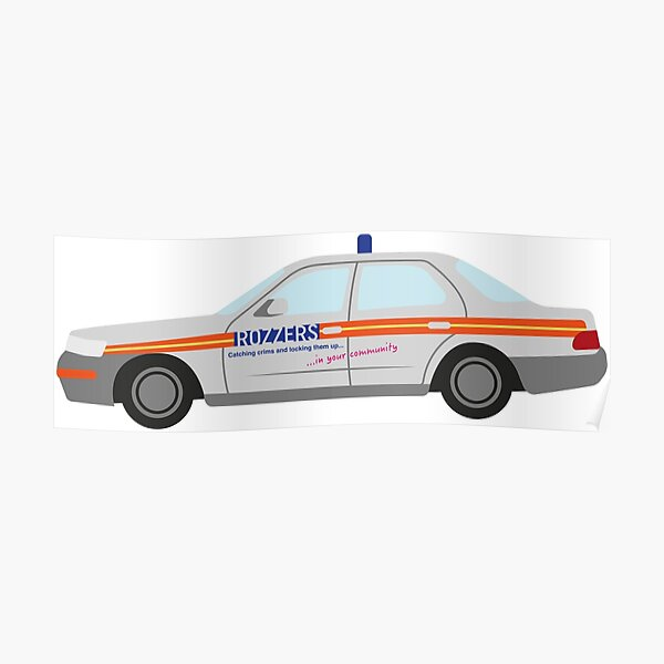 DriveTribe Cartoon Police Car Rozzers Poster