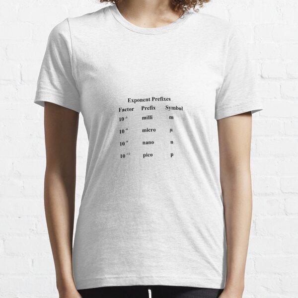 Physics Prints,  #Exponent #Prefixes #Factor #Prefix #Symbol #milli #m #micro #µ #nano #n #pico #p #Physics #GeneralPhysics #Unitofmeasurement #physicalquantity #MetricSystem #woman #beauty #portrait #hair #beautiful Essential T-Shirt