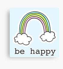 Be Happy Hand Drawn Rainbow Graphic Canvas Print