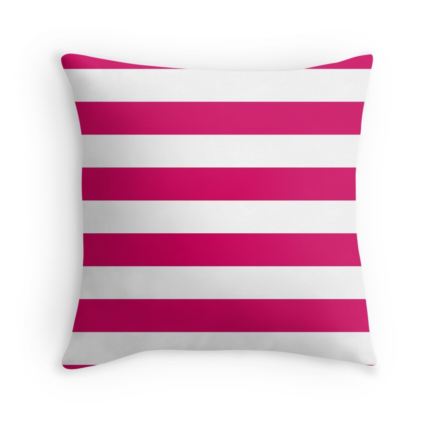 Bright Pink Peacock and White Wide Horizontal Cabana Tent Stripe