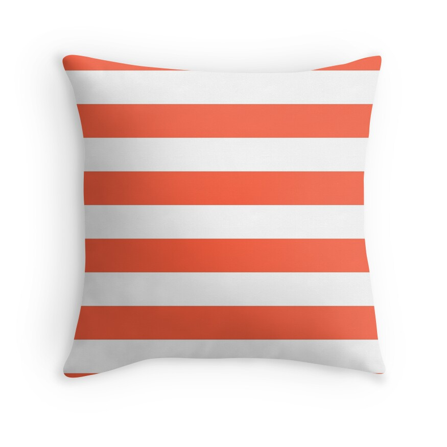 Living Coral and White Wide Horizontal Cabana Tent Stripe