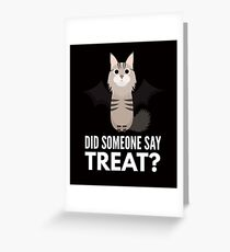 Maine Coon Halloween Trick or Treat Greeting Card