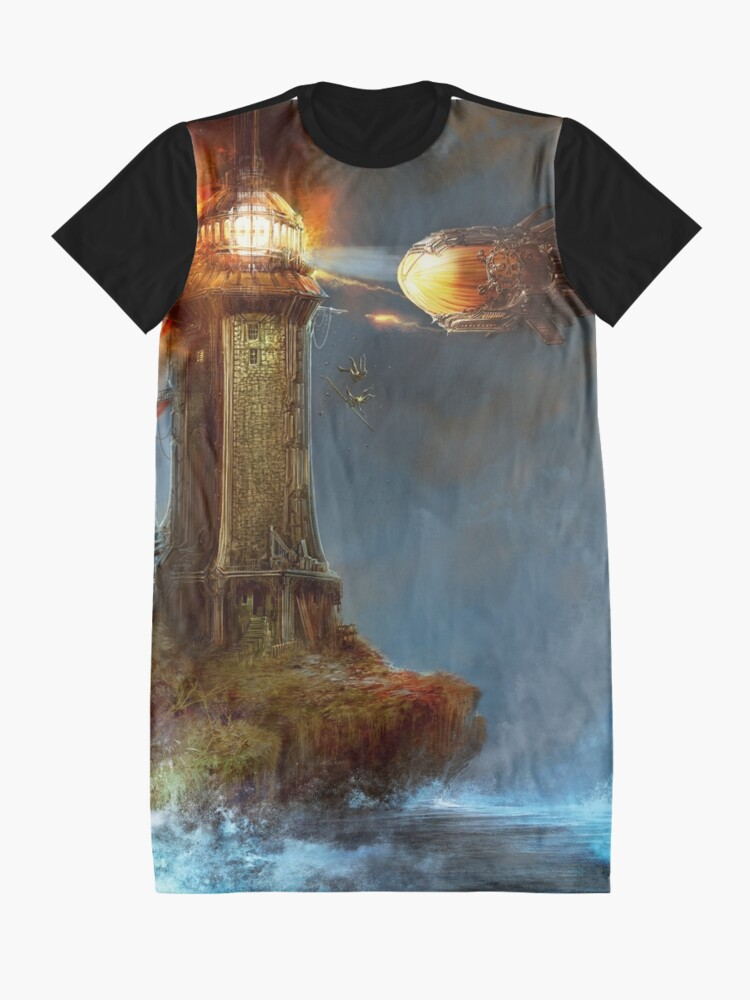 Alternate view of Steampunk Tower Attack! Graphic T-Shirt Dress