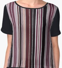 Modern Classic Fashion Stripes - Blueberry Chiffon Top
