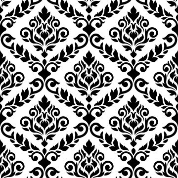 Prima Damask Pattern Black on White by NataliePaskell