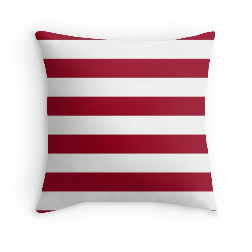 Bright Jester Red and White Wide Horizontal Cabana Tent Stripe
