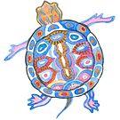 Sea Turtle - Aqua Blue Palette | Folk design by Andreea Dumez