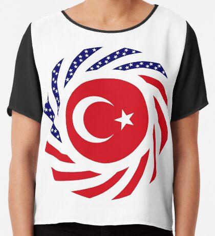 Turkish American Multinational Patriot Flag Series Chiffon Top
