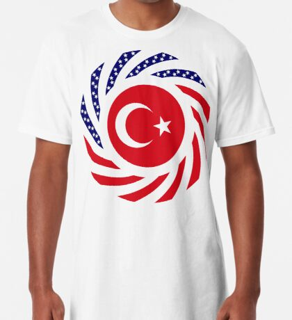 Turkish American Multinational Patriot Flag Series Long T-Shirt