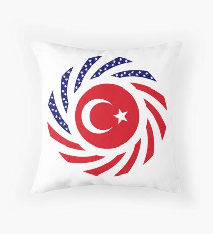 Turkish American Multinational Patriot Flag Series Throw Pillow