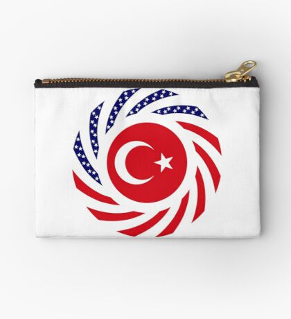 Turkish American Multinational Patriot Flag Series Zipper Pouch