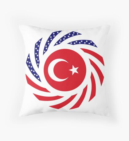 Turkish American Multinational Patriot Flag Series Floor Pillow