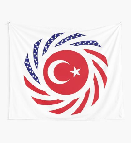 Turkish American Multinational Patriot Flag Series Wall Tapestry