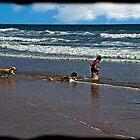 Montanita Kids, Puppy, and Ocean by Al Bourassa